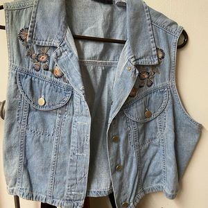 Embroidered Lightweight Denim Vest